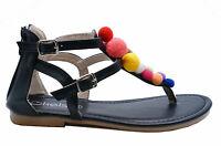 WOMENS BLACK TOE-POST GLADIATOR POM-POM FLAT SUMMER SANDALS SHOES SIZES 3-8