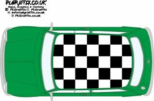 Classic Mini chequered Roof graphics stickers decals Cooper