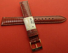 New ZRC France Made Tan GENUINE Lizard 16mm Watch Band Gold Tone Buckle $39.95