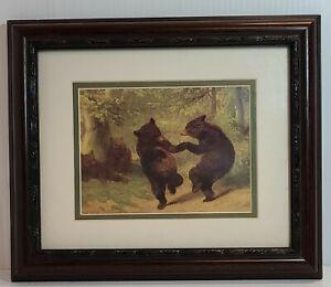 Vintage Dancing Bears Framed Matted  Art Print 12 X 10