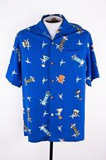 NWT Tommy Bahama Mens S $128 Blue Tiki Beach Camp Hawaiian 100% Silk Shirt