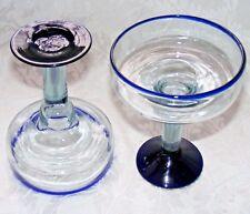 "MEXICAN MARGARITA GLASSES, Set of 2, Blue Rim & Base, Hecho en Mexico, 6"" tall"