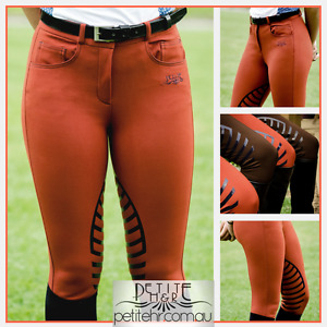 Ladies silicone grip breeches in brown or rust red - sizes 6, 8