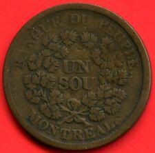 Montreal 1 Sou Bouquet Coin Token Bank Du Peuple #715