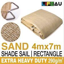 4 x 7M Rectangle SAND Extra Heavy Duty Shade Sail 290gsm 95% UV block 4m x 7m