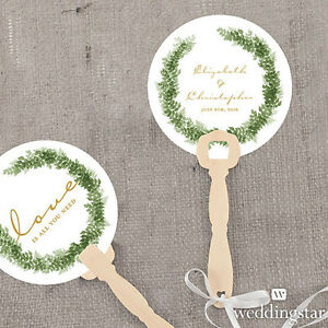 24 Personalized Love Wreath Round Hand Fans Wedding Favors