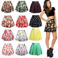 Stylish Womens 3D Digital Print Galaxy Short Pleated Skater Skirt Mini Dress M14