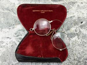 """ancienne  lunettes  lorgnons pince nez binocles  + etui XIX """"OPTQUE DIJON"""""""
