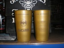 SET OF 2 BACARDI CUBA LIBRE METAL DRINKING CUPS WITH RECIPE
