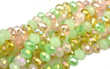 36 Cherry Blossom Mixed Faceted Crystal Rondelle Beads 8MM