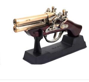 Vintage looking jet lighter Double-barrelled (gun/pistol lighter) with stand