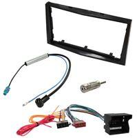 Kit adaptateur autoradio cadre noir 2 DIN Câble Faisceaux compatible avec Opel