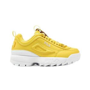 Fila DISRUPTOR II PREMIUM Womens Goldfinch Yellow White 01296-720 Sneaker Shoes