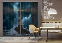 3D Tsunami Sea Lighthouse N189 Photo Curtain Printing Fabric Window Vincent Amy
