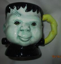 Halloween Mug, Frankenstein, Green & Black, 4 inches tall