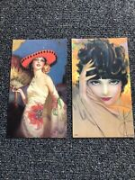 "Vintage Lot Of 2 Art Deco Pin Up Art Prints 10""x5.5"""