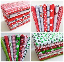 Christmas Fabric Big Bundle Fat Quarters x 8 pieces Polycotton Remnants
