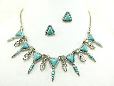 """Vibrant Turquoise & Clear Shiny Gems 18-20"""" Cleopatra Necklace & earring Set NEW"""