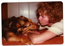 Vintage 80s PHOTO Young Man Guy Interacting w/ His Beloved Dog