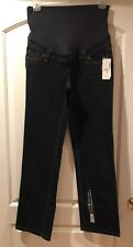 Thyme Maternity 3 In 1 Jeans Denim Comfort Straight Stretch Dark Blue S NWT $59