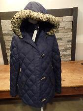 Lauren Ralph Lauren Down Coat Blue Quilted Toggle Faux Fur Trim Women's Sz L NWT