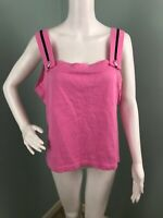 NWT Womens Jamie Sadock Sleeveless Pink Knit Button Strap Tank Top Sz Medium