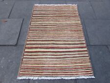 Hand Made Afghan Contemporary Gabbeh Wool Cream Red Brown Modern Rug 150x100cm