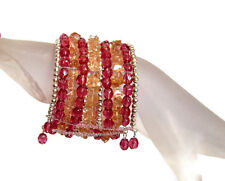 Rose Quartz & Glass Ethnic Bollywood Dance Indian Bedouin Wedding Bangle Cuff