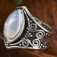 Vintage Moonstone 925 Silver Ring Men Women Jewelry Gemstone Wedding Size 6-10