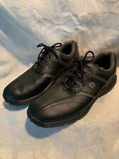 Footjoy Greenjoy Mens Sz 9.5M Flexzone Leather Black Lace Up Spike Golf Shoes