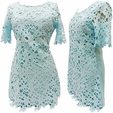 NEW WOMENS LADIES SHORT SLEEVED LONG CROCHET KNIT LACEY TOP LINED SIDE ZIP SIZE