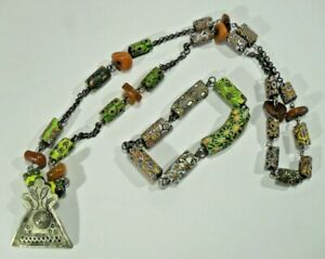 antike MILLEFIORI HALSKETTE mit Armband AFRIKA Tribe Schmuck Glasperlen Stäbe