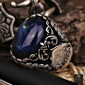 Mens Tiger Eye Exclusive Ring Silver Blue Stone Engraved Customized Cool Jewelry