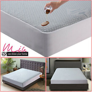 New Waterproof Mattress Protector Cover Bamboo Saniter Fitted Sheet Bed Cover UK