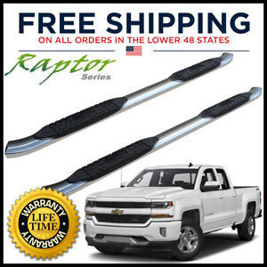 Raptor Series 0101-0057M 3 inch Round Stainless Nerf Bar Side Steps For 00-19 Silverado// Sierra 1500//2500//3500 Crew Cab