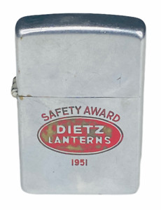 RARE 1951 VINTAGE DIETZ LANTERNS ZIPPO LIGHTER Safety Award Advertising