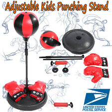 Adjustable Height Kids Boxing Punch Ball Children Training Bag Stand+Gloves US
