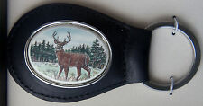 Key Ring Leather Barlow Photo Reproduction in Color Deer Standing 330605c black