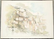 RICHARD DE PREMARE (Artiste Côté) Superbe Litho Village Provencal 76 x 54 - E.A