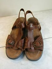 Dr Scholl's Brown Leather Slingback Strappy Sandal Shoes Women's 10 M