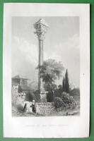 CONSTANTINOPLE Column of Marcian - 1840s Antique Print Engraving