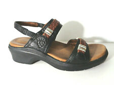 ARIAT US 8M 93470 Black Leather platform sandals shoes with brown & pewter trim