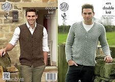King Cole 4273 Knitting Pattern Mens Cardigan & Waistcoat to knit in Panache DK