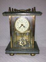 Commodore Battery Operated Quartz Emerald Marble Base and Top Mantel Shelf Clock