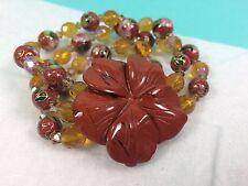 Cloisonne Triple Strand Bracelet with Stone Flower - CC-30A*
