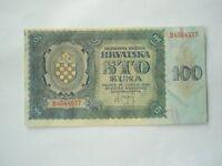 CROATIA 100 kuna 1941 UNC- NDH war Yugoslavia Germany