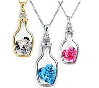 Beautiful Love Heart Wishing Bottle Pendant Chain Crystal Necklace Gift Jewelry