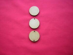 2.5cm / 25mm MDF DISCS / CIRCLES x 50  with no holes / 1 hole / 2 holes