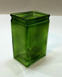 Vintage 1990's 3x4x6 Rectangle Green Clear Glass Flower Vase FREE S/H