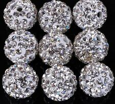 100pcs/lot 12mm White micro pave disco crystal shamballa beads bracelet spacer